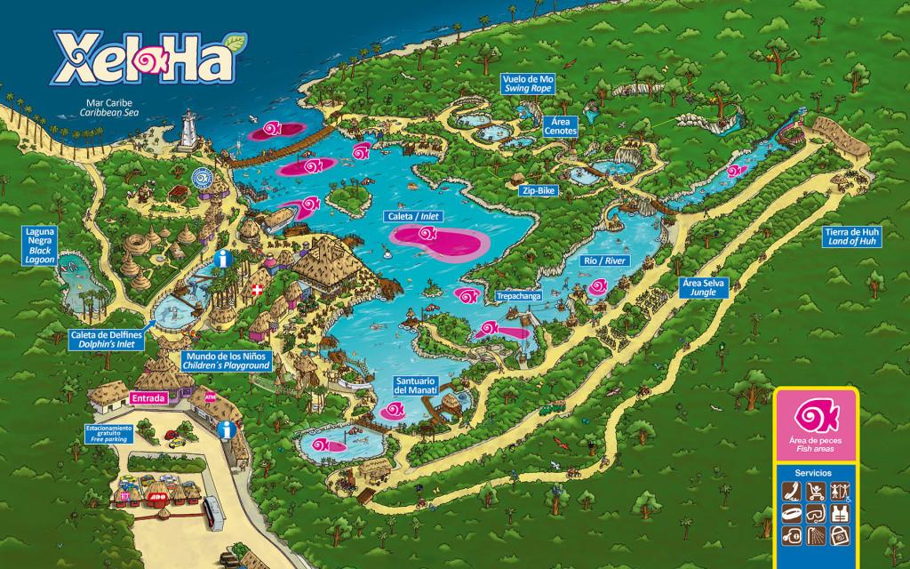 mapa parque xelha